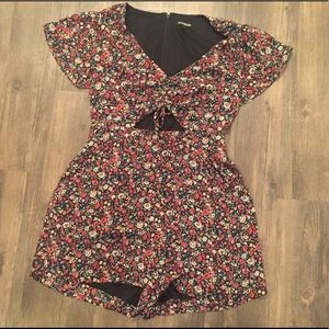 Express floral cut out romper
